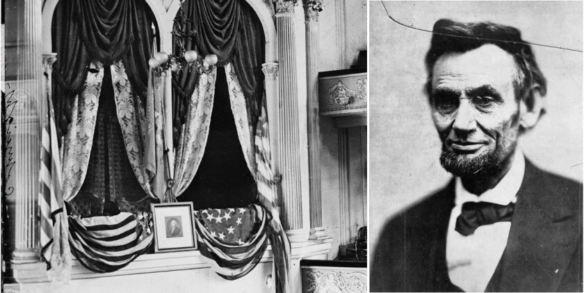 At left, the presidential box at Ford's Theatre in Washington, D.C., the day after Lincoln was shot there by John Wilkes Booth. At right, an 1865 photo of Lincoln believed to be the last taken of him.