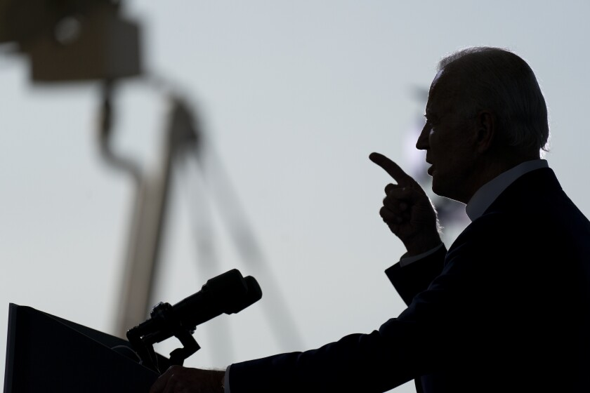 Democratic presidential candidate former Vice President Joe Biden speaks at Miramar Regional Park in Miramar, Fla., Tuesday Oct. 13, 2020. (AP Photo/Carolyn Kaster)