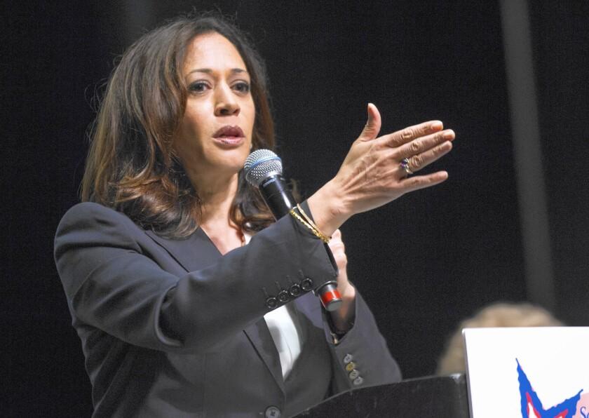 California Atty. Gen. Kamala Harris speaks in Escondido in October.