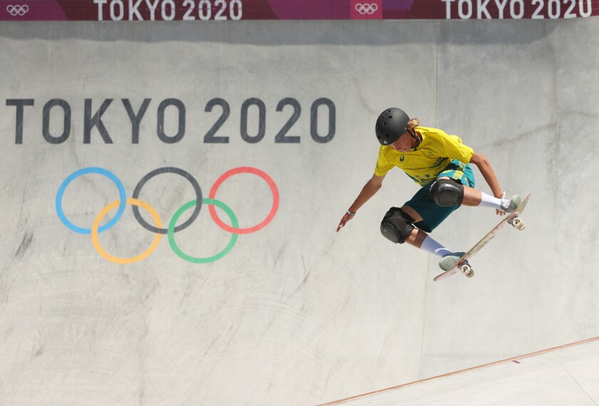 Encinitas resident Keegan Palmer, who competes for Australia, wins gold in men's skateboarding park competition.