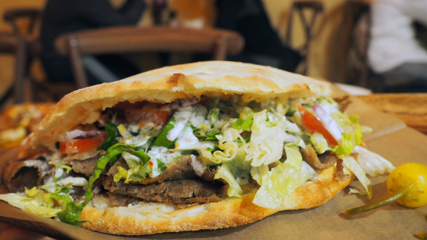 The gyro pizza sandwich from Mega Pizza and Grille in Culver City.