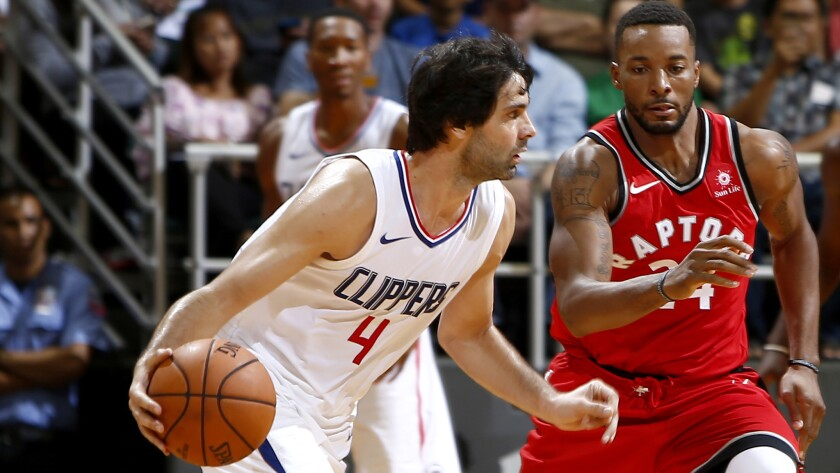 Clippers guard Milos Teodosic, shown during a preseason game against the Raptors, logged only 32 minutes in two games of the regular season before he went down with an injury.