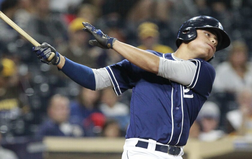 Padres prospect Tirso Ornelas swings in game against Texas Rangers prospects during the Padres Futures Game at Petco Park on Friday., Oct. 7, 2016.