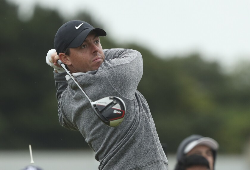 Northern Ireland's Rory McIlroy hits his tee shot on the 12th hole Friday during the second round of the British Open at Royal Portrush.