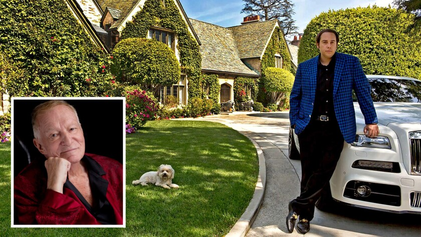 Daren Metropoulos bought the Playboy Mansion next to his own home, above, but Hugh Hefner, inset, gets to stay in the home.