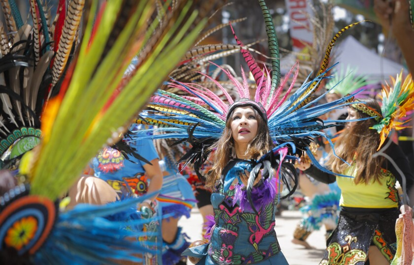 Aztec dancers from numerous groups in the United States and Mexico performed during the 48th Chicano Park Day in 2018.