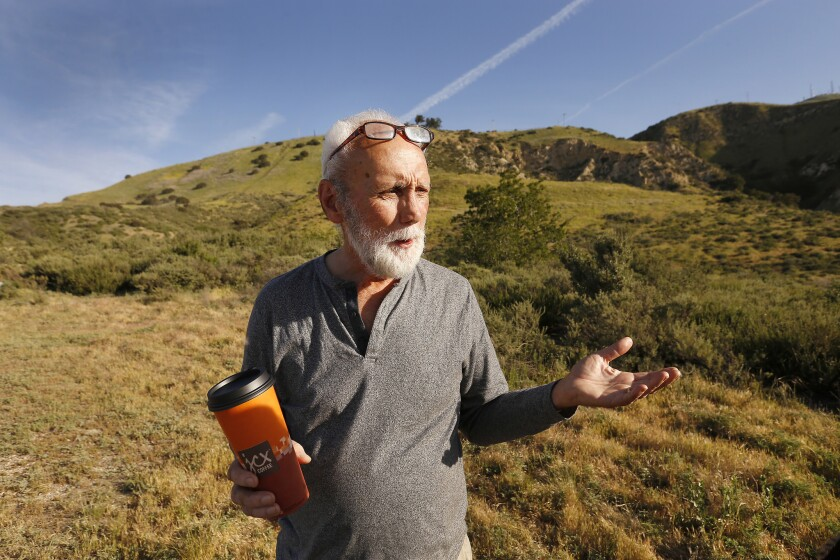 CHATSWORTH, CA - APRIL 24, 2018: Wayne Fishback at the entrance to his ranch in Browns Canyon above
