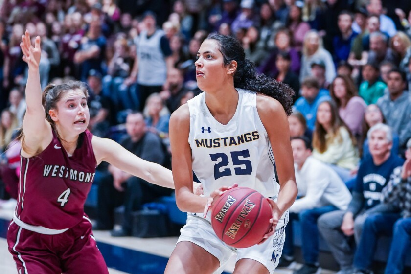 Stephanie Soares (25) of The Master's College basketball team. She was recently chosen NAIA Division I national player of the year.