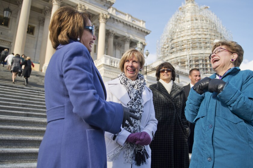 House Minority Leader Nancy Pelosi of San Francisco, from left, talks with Democratic U.S. Reps. Janice Hahn of San Pedro, Lucille Roybal-Allard of Downey and Marcy Kaptur of Ohio on the steps of the Capitol.