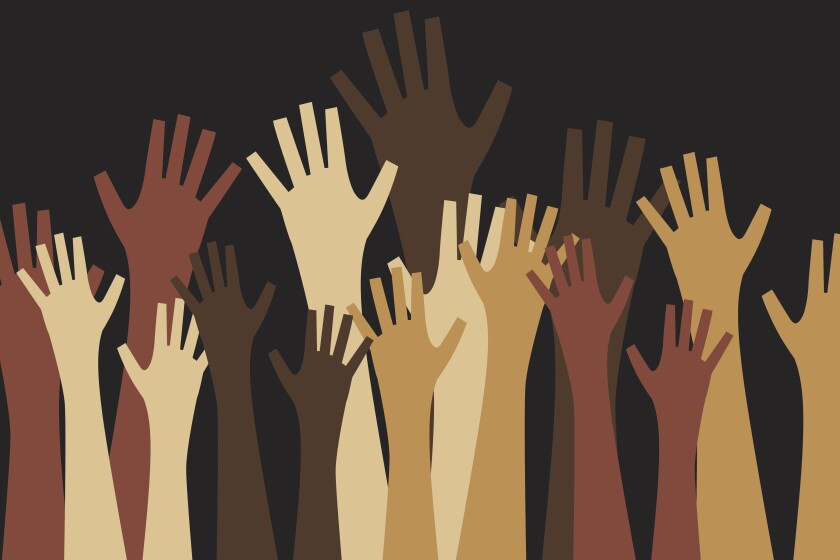 Illustration of a crowd of hands reaching upward.