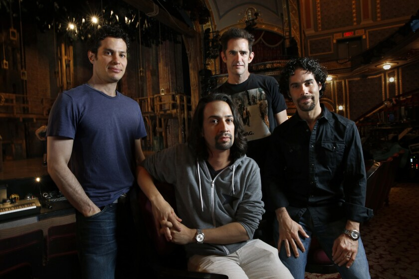 Thomas Kail, left, worked with Lin-Manuel Miranda, Andy Blankenbeuhler and Alex Lacamoire.