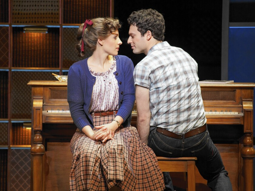 """Jessie Mueller as Carole King and Jake Epstein as Gerry Goffin in """"Beautiful: The Carole King Musical."""""""