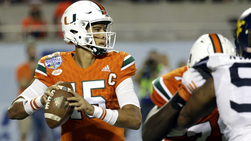 Miami quarterback Brad Kaaya (15) prepares to pass from the pocket against West Virginia in the Russell Athletic Bowl on Wednesday.