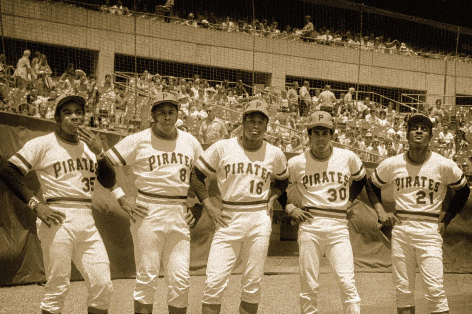 From left to right, Pittsburgh Pirates Manny Sanguillen, Willie Stargell, Al Oliver, Dave Cash and Roberto Clemente