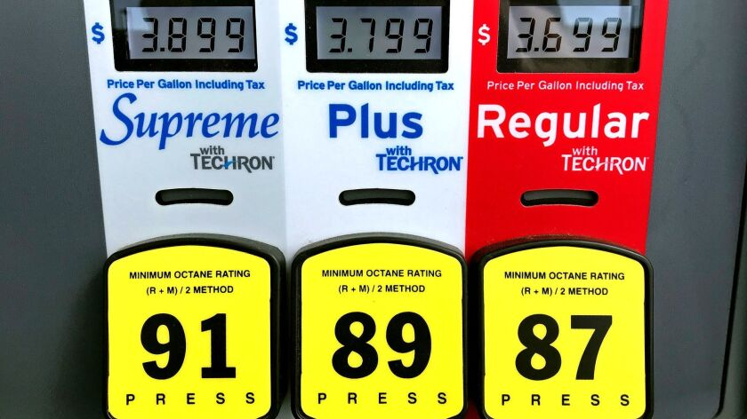 BURBANK, CALIF. - APR. 16, 2018 - Prices for gasoline are displayed on a pump at a Chevron station i