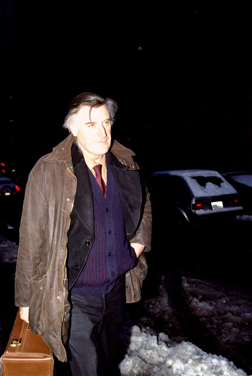 British poet laureate Ted Hughes in Boston. Hughes' estate has suddenly withdrawn support of an upcoming biography.