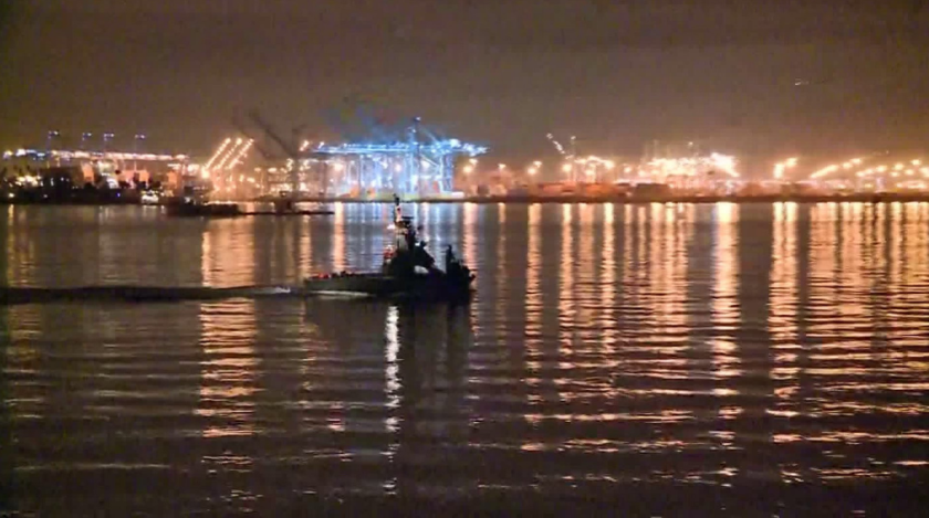 The downed helicopter was reported by those aboard a cruise ship departing the Port of Los Angeles.