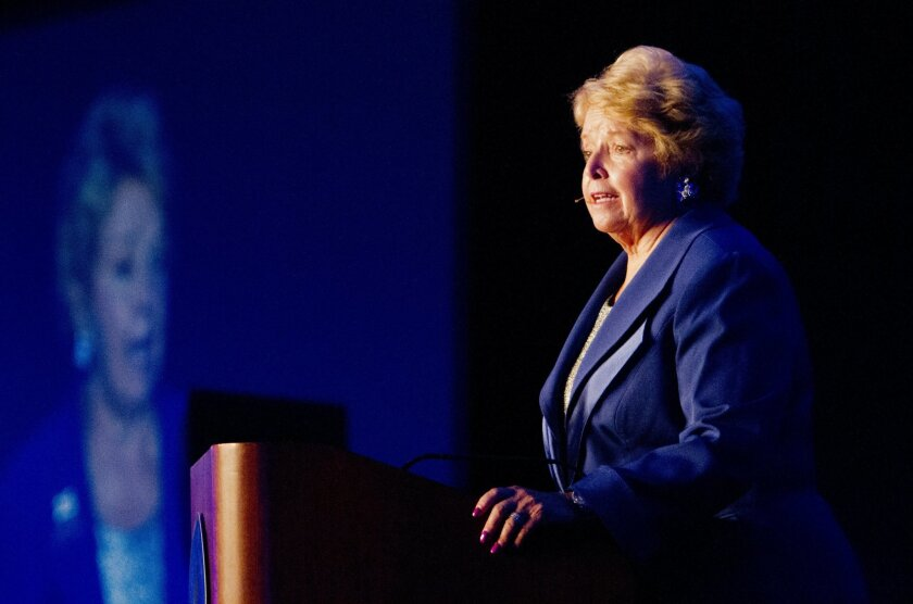 Cal State San Marcos University President Karen Haynes delivered her annual Report to the Community address on campus on Thursday. She highlighted the University's 25th anniversary and her vision for the institution's future.   Photo by Don Boomer