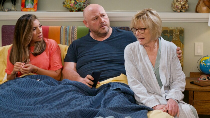 "Christina Vidal Mitchell, Will Sasso and Jane Curtin in ""United We Fall"" on ABC."