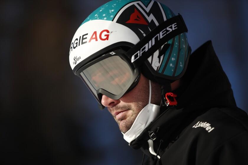 Austria's Vincent Kriechmayr prepares prior to the super G portion of the men's combined race, at the alpine ski World Championships, in Cortina d'Ampezzo, Italy, Monday, Feb. 15, 2021. (AP Photo/Gabriele Facciotti)