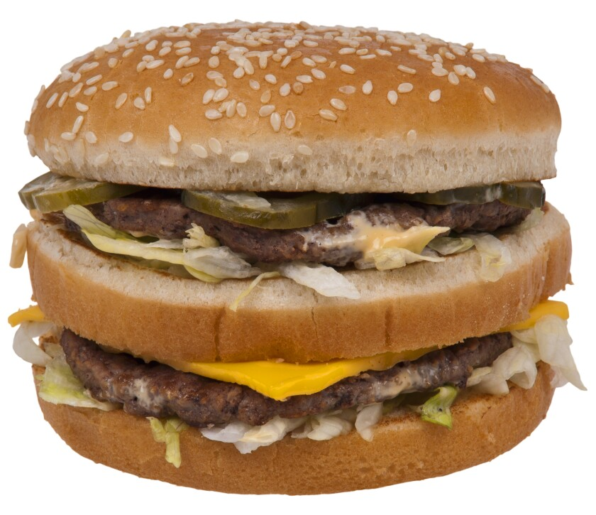 A photo of a McDonald's Big Mac hamburger.