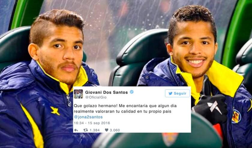 El mensaje de Giovani (d) a su hermano Jonathan Dos Santos, en una foto de cuando ambos jugaban para el Villarreal de España.