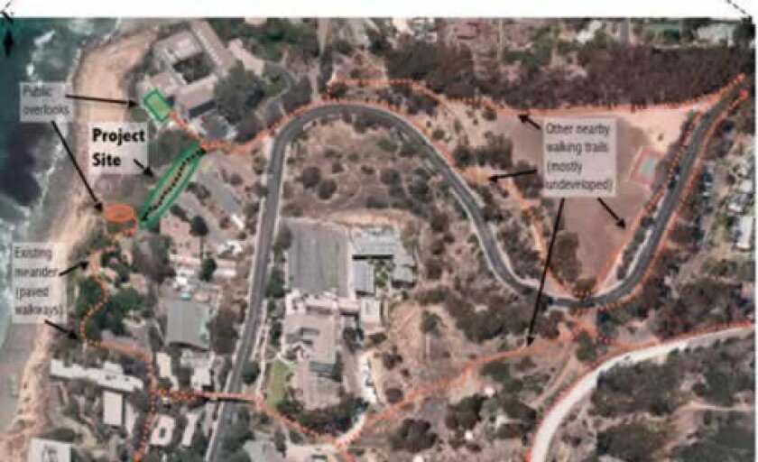 A rendering of where the new trail will go and how it connects to other scripps institution of Oceanography trails in la Jolla. Courtesy