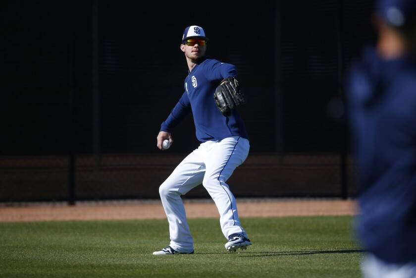San Diego Padres outfielder Wil Myers fields a ball during a spring training practice on Feb. 20, 2019.