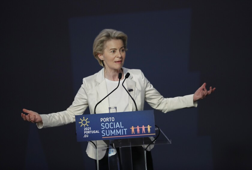 European Commission President Ursula von der Leyen speaks during the closing ceremony of the EU summit at the Alfandega do Porto Congress Center in Porto, Portugal, Friday, May 7, 2021. European Union leaders met for a summit in Portugal on Friday, sending a signal they see the threat from COVID-19 on their continent as waning amid a quickening vaccine rollout. (AP Photo/Francisco Seco, Pool)