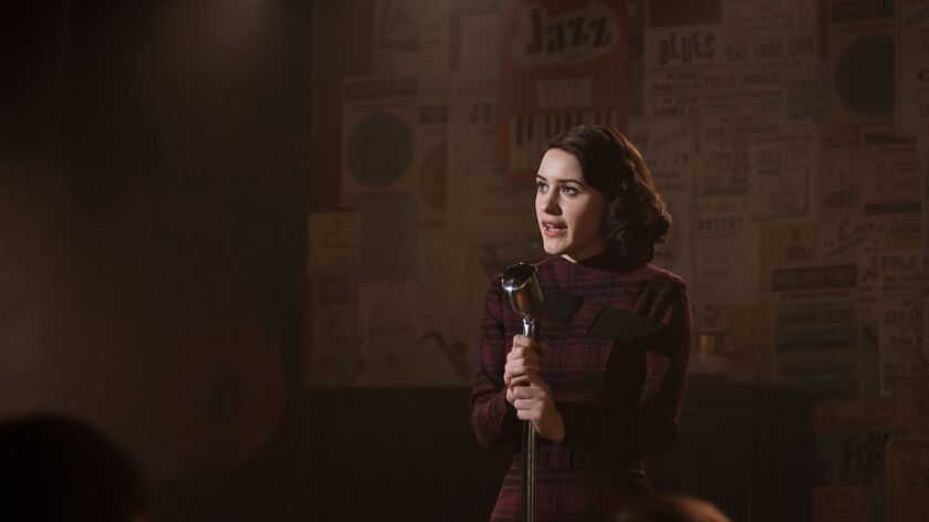 Rachel Brosnahan in the Amazon series The Marvelous Mrs. Maisel