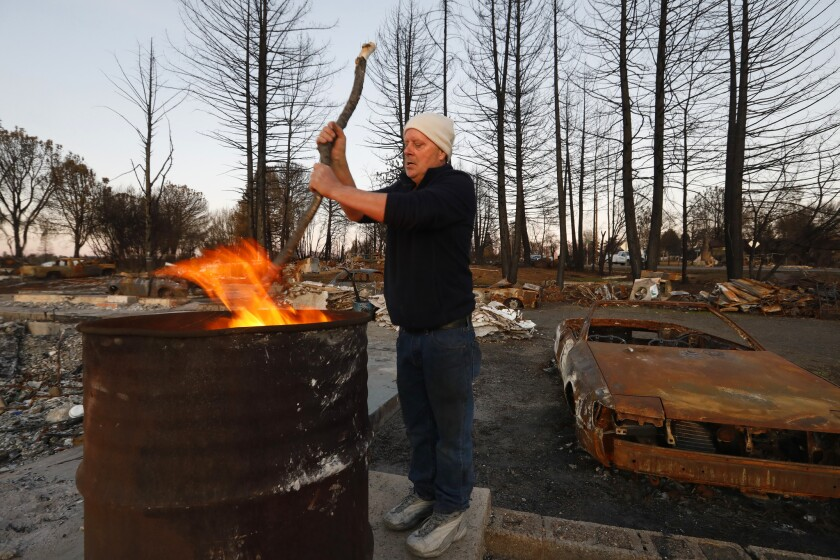 PARADISE, CALIFORNIA--FEB. 25, 2019--John Cronister, age 60, is living in a trailer on his property