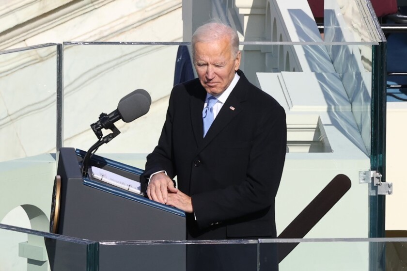 President Biden delivers his inaugural address after being sworn in on Wednesday.
