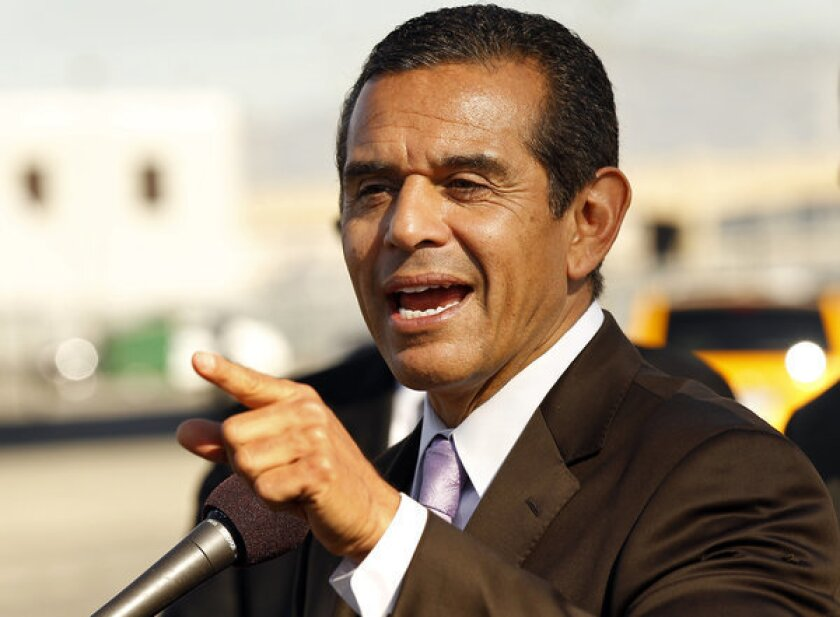 Mayor Antonio Villaraigosa at a press conference.