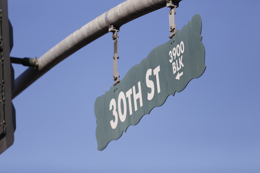 Street sign at 3900 30th St in North Park.