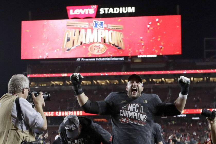 Joe Staley celebrates the 49ers' win over Green Bay in the NFC Championship on Jan. 19 in Santa Clara, Calif.