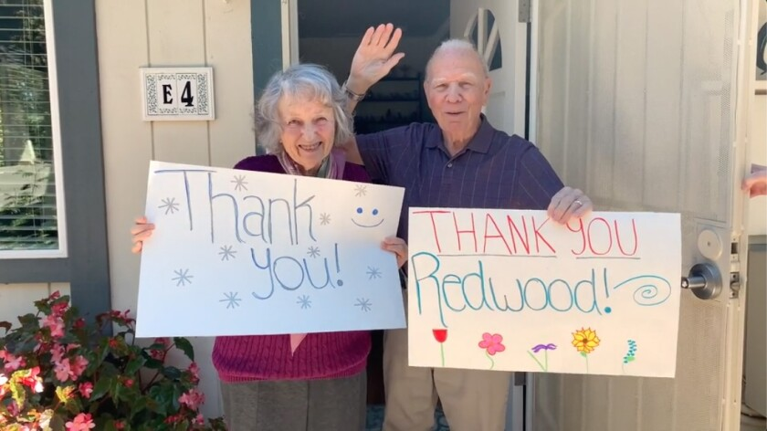 Residents of Redwood Terrace senior living community in Escondido recently put together a thank you video message