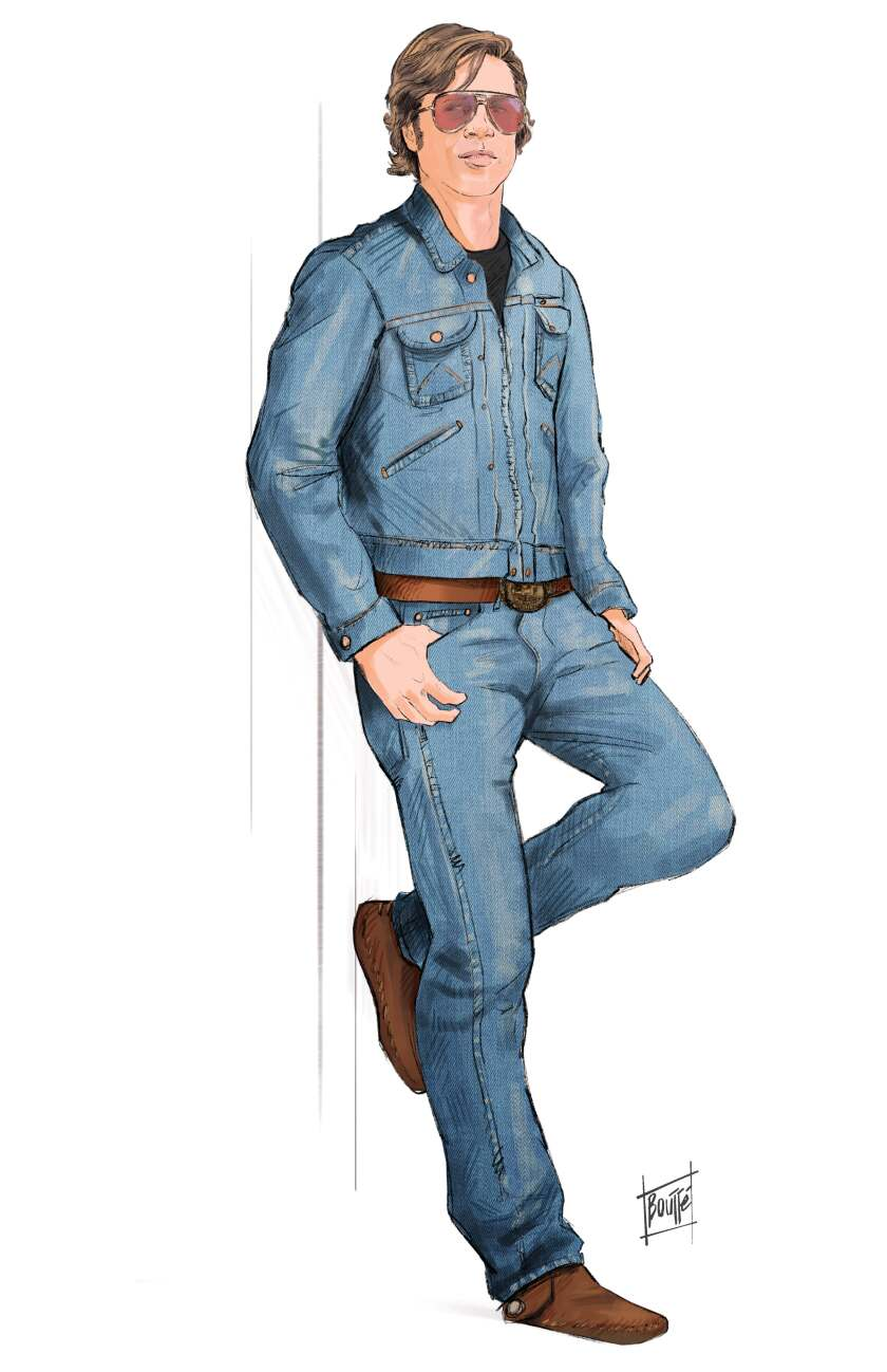 "A costume sketch of Brad Pitt as stuntman Cliff Booth in ""Once Upon a Time...in Hollywood"""