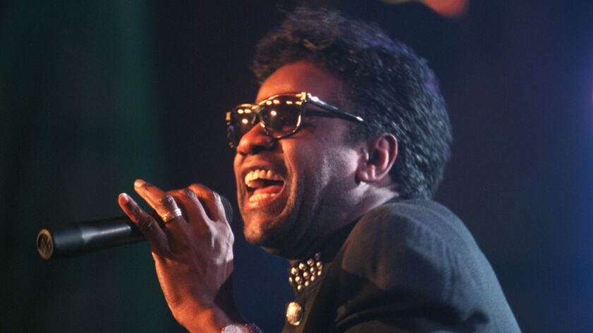 CA.HARDROCK. 10.LH.031195b. Singer Al Green during his high energy performance at the opening of the