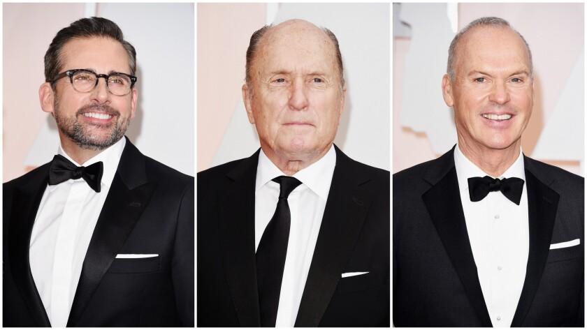 Steve Carell, left, Robert Duvall and Michael Keaton.