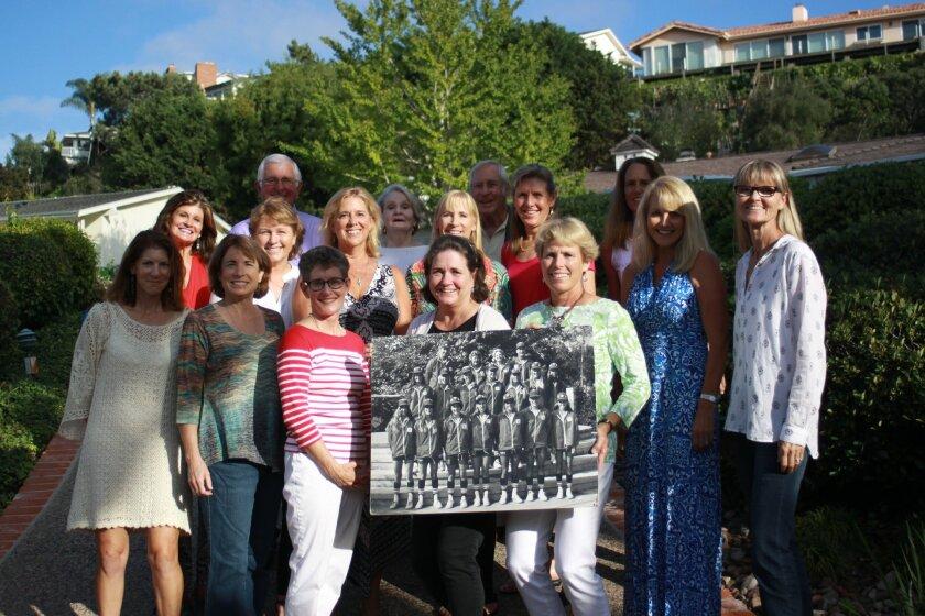 Front: Elizabeth (Biffy) Korevaar (Stahl), Cyndi Grauf, Margaret Miller (Thum), Karen Haubrich, Jill Walsh (Pflaum), Kathe Beardsley (Doren), Libby Snyder (Barto). Middle: Kimi Batutis (Creamer), Nina Gordon (Youngdale), Aime Rodriguez (Johnston), Christa Hubbard (Breihan), Marilyn Weber (Pitrofsky