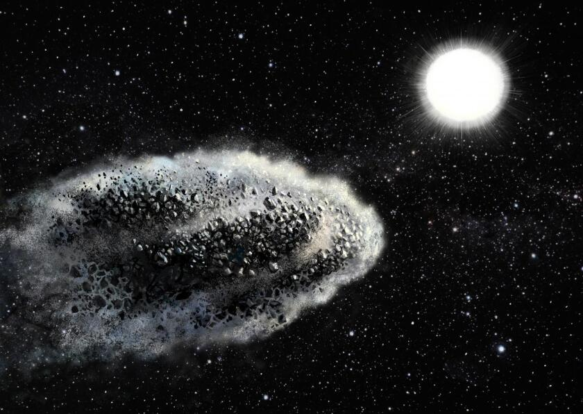 Scientists say there are fewer asteroids within 10 solar diameters of the sun than expected, and now they know why. Pictured here, an artist's impression of a near-Earth asteroid breaking apart as it nears the sun.