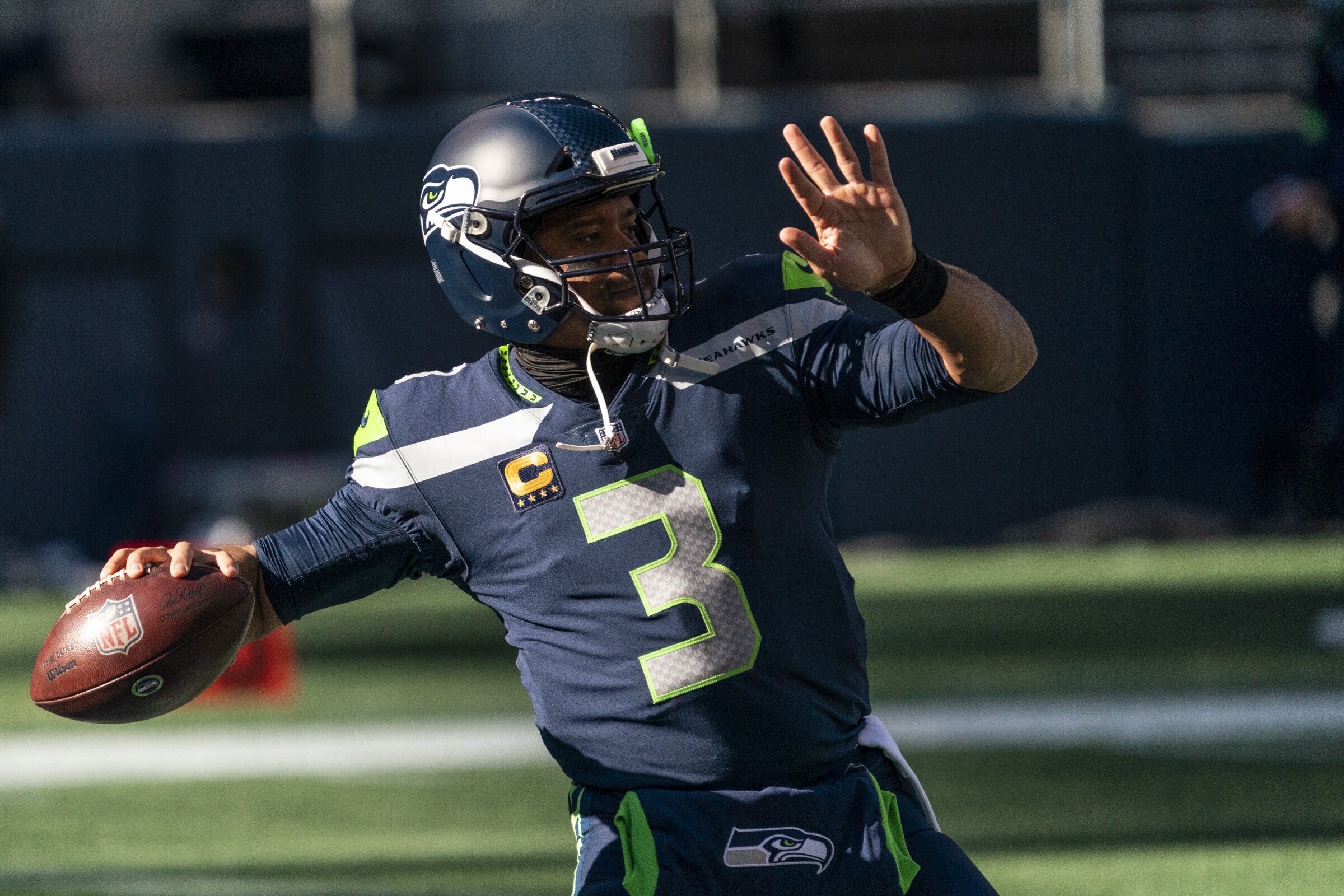 Seattle Seahawks quarterback Russell Wilson throws the ball during warmups.
