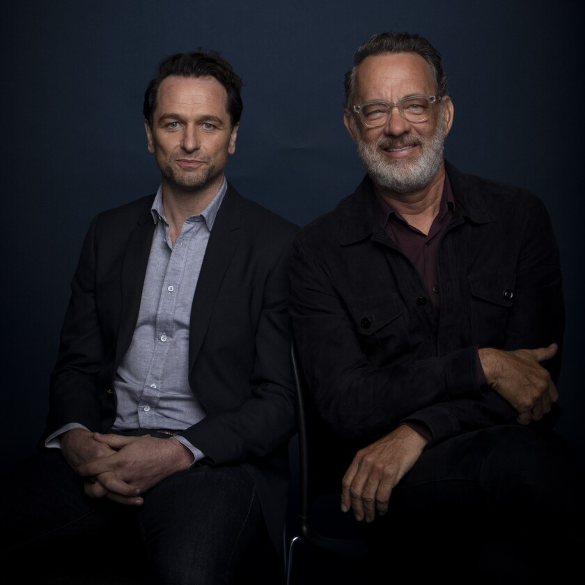 """Matthew Rhys and Tom Hanks, who star in """"A Beautiful Day in the Neighborhood."""""""