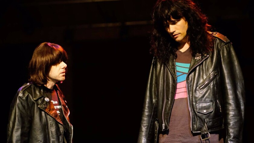 """Johnathan McClain, left, as Johnny Ramone and Matthew Patrick Davis as Joey in """"End of the Century."""""""