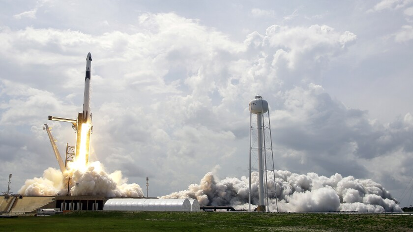 SpaceX launches astronauts to the International Space Station for the first time ever.