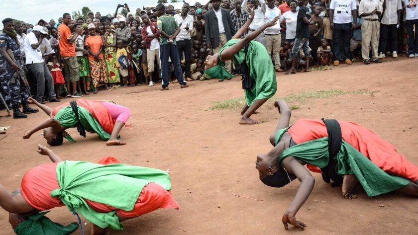 Dancers perform at a rally in Bujumbura, Burundi, to protest the referendum that could extend President Pierre Nkurunziza's term.