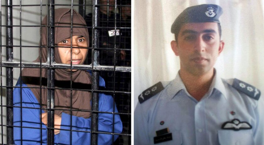 A composite image shows Jordanian military pilot Lt. Moaz Kasasbeh and Jordanian prisoner Sajida Rishawi, the principals in a possible prisoner swap with Islamic State.