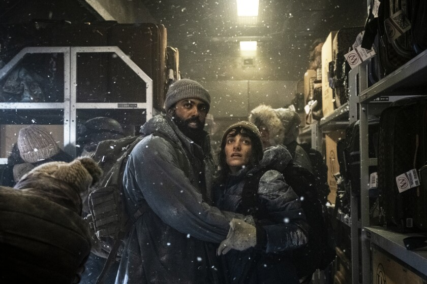 """Daveed Diggs and Sheila Vand in """"Snowpiercer"""""""