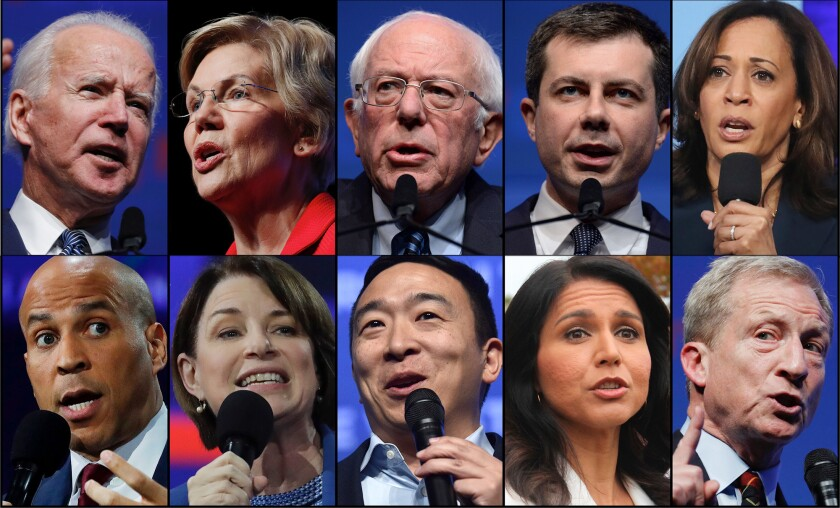 The 10 Democratic candidates in Wednesday's debate, clockwise from top left: Joe Biden, Elizabeth Warren, Bernie Sanders, Pete Buttigieg, Kamala Harris, Tom Steyer, Tulsi Gabbard, Andrew Yang, Amy Klobuchar and Cory Booker.