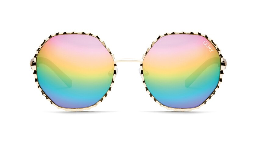 Rainbow shaded sunglasses from eyewear brand Quay Australia. $60. quayaustralia.com Credit - Quay A